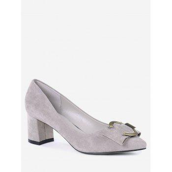 Buckle Strap Metal Pointed Toe Pumps - SUEDE ROSE 35