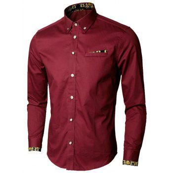 Faux Pocket Floral Trim Button Down Shirt - WINE RED WINE RED