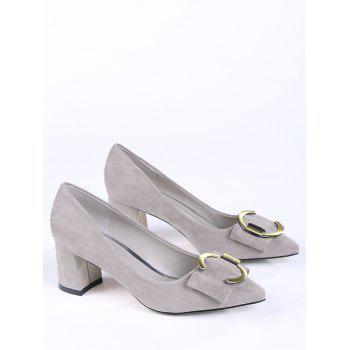 Buckle Strap Metal Pointed Toe Pumps - SUEDE ROSE 38