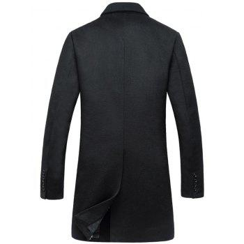 Wool Blend Flap Pocket Single Breasted Coat - BLACK L
