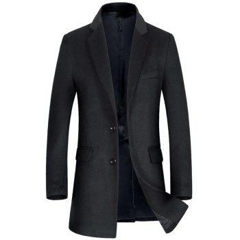 Wool Blend Flap Pocket Single Breasted Coat - BLACK BLACK