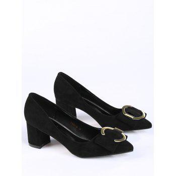 Buckle Strap Metal Pointed Toe Pumps - 37 37
