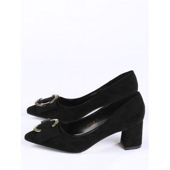 Buckle Strap Metal Pointed Toe Pumps - BLACK 37