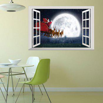 3D Window Christmas Santa Sleigh Wall Art Sticker - COLORMIX 48.5*72CM