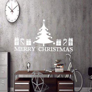 Christmas Tree Gift Pattern Wall Art Sticker - WHITE 57*48.7