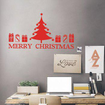 Christmas Tree Gift Pattern Wall Art Sticker - RED RED