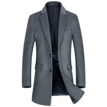 Wool Blend Flap Pocket Single Breasted Coat - GRAY GRAY