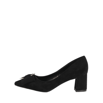 Buckle Strap Metal Pointed Toe Pumps - BLACK 34