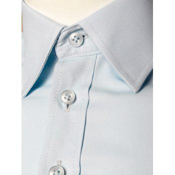 Long Sleeve Plain Formal Shirt - LIGHT BLUE L