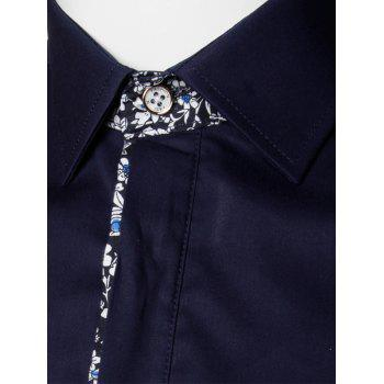 Floral Detail Long Sleeve Pocket Shirt - PURPLISH BLUE L