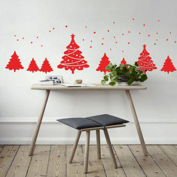Christmas Tree Pattern Wall Art Sticker - RED RED