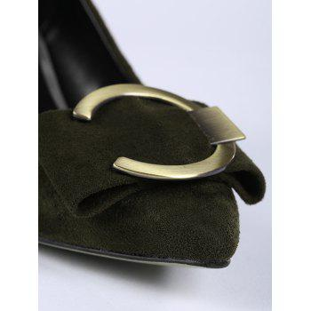 Buckle Strap Metal Pointed Toe Pumps - BLACKISH GREEN 40