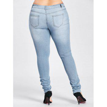 Plus Size Low Waisted Light Wash Ripped Jeans - CLOUDY CLOUDY