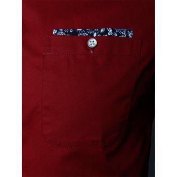 Floral Detail Long Sleeve Pocket Shirt - WINE RED 5XL