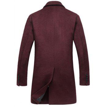 Wool Blend Flap Pocket Single Breasted Coat - WINE RED XL