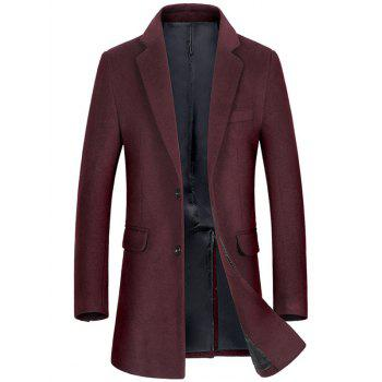Wool Blend Flap Pocket Single Breasted Coat - WINE RED WINE RED