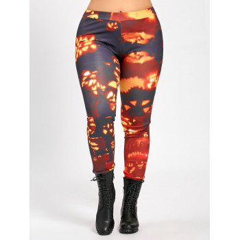 Plus Size Pumpkin Lamp Halloween Pants - ORANGE WAVE POINT 2XL