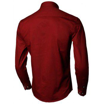 Floral Detail Long Sleeve Pocket Shirt - WINE RED 2XL