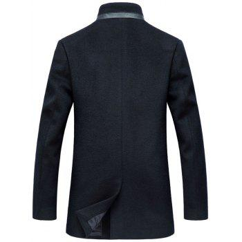 Wool Blend Mock Pocket Mandarin Collar Coat - PURPLISH BLUE 2XL
