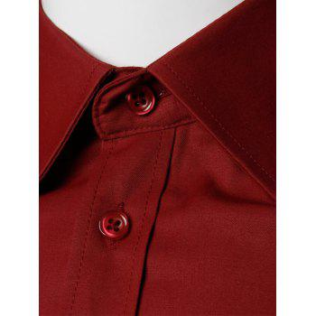 Long Sleeve Plain Formal Shirt - WINE RED WINE RED