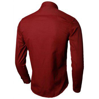 Long Sleeve Plain Formal Shirt - WINE RED 4XL