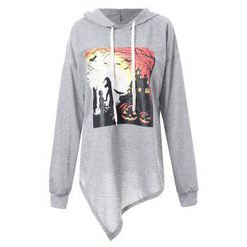 Plus Size Halloween Night Asymmetric Hoodie - GRAY XL