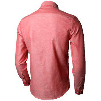 Long Sleeve Stripe Detail Casual Shirt - WATERMELON RED WATERMELON RED
