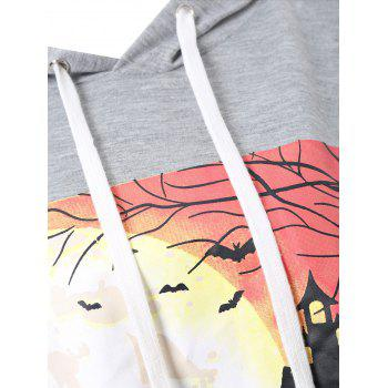 Plus Size Halloween Night Asymmetric Hoodie - 3XL 3XL