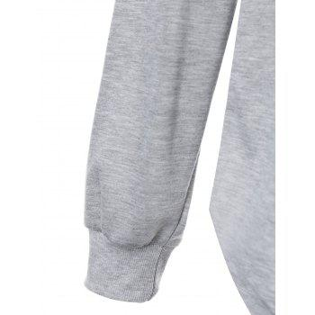 Plus Size Halloween Night Asymmetric Hoodie - GRAY GRAY