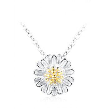 Sterling Silver Flower Collarbone Necklace - SILVER SILVER