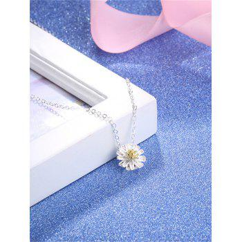 Sterling Silver Flower Collarbone Necklace -  SILVER