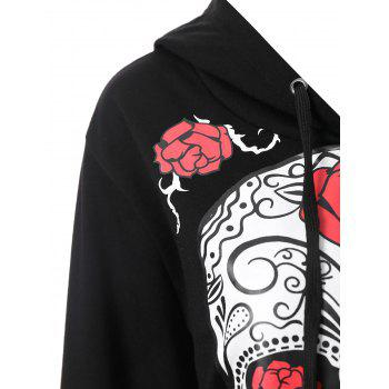 Plus Size Halloween Skull Floral Graphic Hoodie - BLACK 2XL