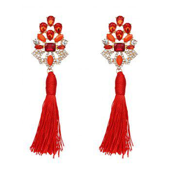 Vintage Faux Crystal Rhinestone Tassel Earrings - RED RED