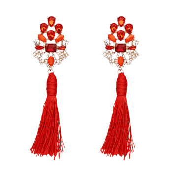 Vintage Faux Crystal Rhinestone Tassel Earrings - RED
