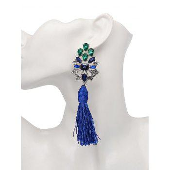 Vintage Faux Crystal Rhinestone Tassel Earrings -  BLUE