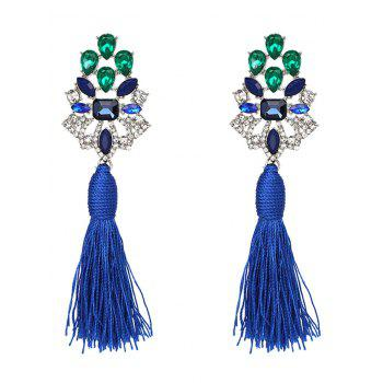 Vintage Faux Crystal Rhinestone Tassel Earrings - BLUE BLUE