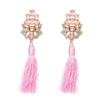 Vintage Faux Crystal Rhinestone Tassel Earrings - PINK PINK