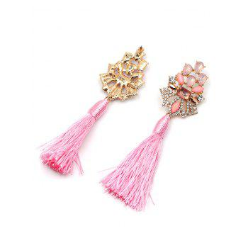 Vintage Faux Crystal Rhinestone Tassel Earrings -  PINK