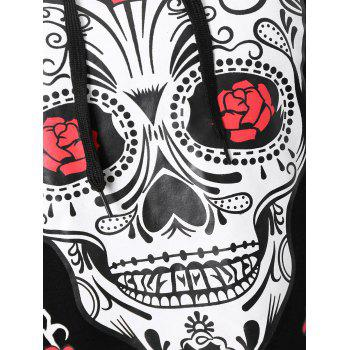 Plus Size Halloween Skull Floral Graphic Hoodie - 5XL 5XL
