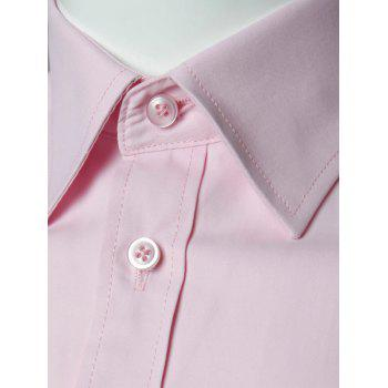 Long Sleeve Plain Formal Shirt - PINK M