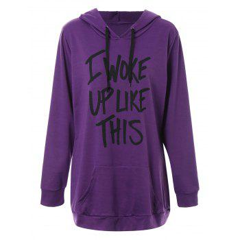 Plus Size Woke Up Graphic Hoodie with Kangaroo Pocket - PURPLE XL