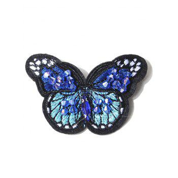 Butterfly Embroidered Brooch - BLUE BLUE