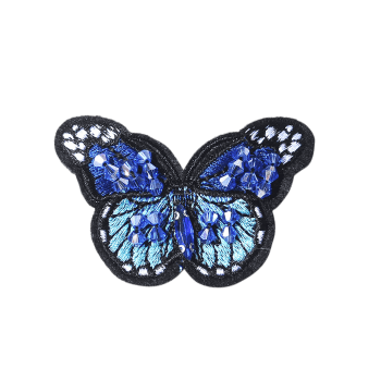 Butterfly Embroidered Brooch -  BLUE