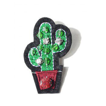 Acrylic Gem Cactus Embroidered Brooch - GREEN GREEN