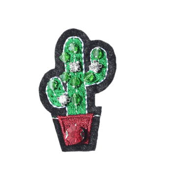 Acrylic Gem Cactus Embroidered Brooch - GREEN