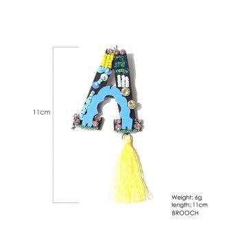 Tassel Beading Letter A Shape Brooch - YELLOW