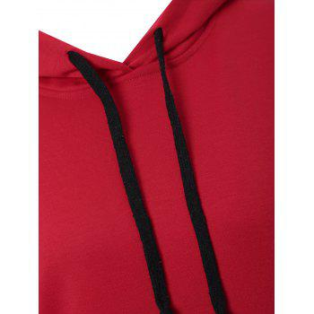 Plus Size Color Block Kangaroo Pocket Hoodie - RED 3XL