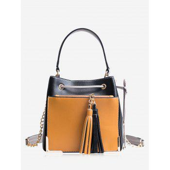 Metal Corner Tassel Drawstring Tote Bag - BLACK BLACK