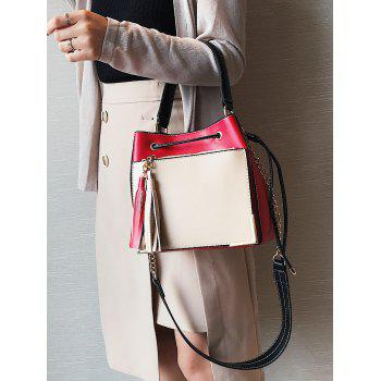 Metal Corner Tassel Drawstring Tote Bag -  RED