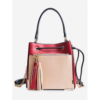 Metal Corner Tassel Drawstring Tote Bag - RED RED